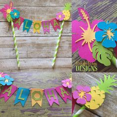 Hawaiian Cake Bunting Topper - Smash Cake Banner - Moana Themed Birthday - Luau Decorations - Tropical Hibiscus Pineapple