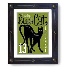 Black Cat Art Print Lucky Number 13.