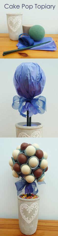All of me: Craft me Happy!: Cake Pop Topiary. Cake pop tree made using florist foam.