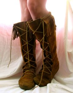 moccasin boots - had these in baby blue suede!  Loved them so much!