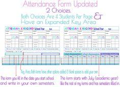 Attendance Form Homeschool Planner Updated thumb Updated Homeschool Attendance Forms