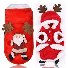 NEW Christmas Santa Pet Clothes Warm Coat Dog Hoodie Puppy Jumpsuit Vest Costume Christmas Puppy, Christmas Animals, Christmas Cats, Winter Christmas, Merry Christmas, Christmas Clothes, Christmas Costumes, Chihuahua, Maltese Poodle