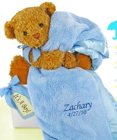 Buy Bear Essentials Gift Set-Little Boy Blue. More - Bear Essentials Gift Set-Little Boy Blue. Bear Essentials Gift Set-Little Boy BlueAdorable & sweet! This bear essentials gift set includes a luxurious super soft baby blanket and new teddy perfect for w Baby Gift Sets, Baby Boy Gifts, Gifts For Boys, Baby Boys, Blue Baby Blanket, Soft Baby Blankets, Bear Blanket, Blanket Gifts, Plush Blankets
