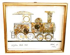 Unusual clock collage by Len Kersh, Brighton Belle 1920, made from old clocks.  Brighton Beautiful 1923 signed: L.Kersh of London,   Collectionneurs trains, trains anciens, collage art., Lovely detailed image of a train made with  lots of small parts.  Each collage from this artist is unique and so lovely. Collectionneurs trains, trains anciens, collage art.  Glass covered and framed, in good vintage conditions with some stains.  Made in 1970.    32,5 cm x 27,3 cm x 2,5 cm | Shop this…