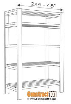 DIY 2x4 Storage Shelves - Free Plans - Construct101 Diy 2x4 Storage Shelves, Diy Wood Shelves, Diy Garage Storage, Garage Shelf, Shed Storage, Garage Shelving Plans, Garage Organization, Woodworking Furniture Plans, Diy Woodworking