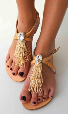 270281348854de Leather Sandals with Swarovski teardrop - Beige and natural sandals -  Mykonos Sandals. Womens Clothing With Style