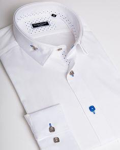 Men's reverse collar shirts - Andrea 2 blue