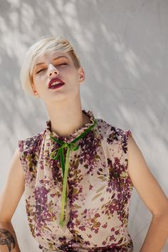 Love the watercolor-like print! Flower print shirt with green velvet tying and by jenfashion, $46.00