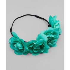 Just Couture Green Flower Band Crown Headband   zulily ❤ liked on Polyvore featuring accessories, hair accessories, headband crown, crown hairband, crown headband, flower headwrap and headband hair accessories
