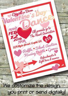 Valentine's Day Dance Benefit ~ Community Event ~ 5x7 Invite ~ 8.5x11 Flyer ~ 11x14 Poster ~ 300 dpi Digital Invitation by DitDitDigital on Etsy https://www.etsy.com/listing/261053042/valentines-day-dance-benefit-community