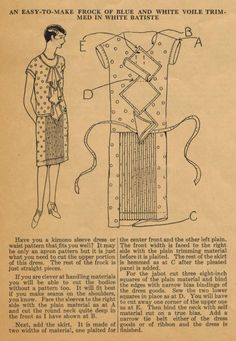 The Midvale Cottage Post: Home Sewing Tips from the 1920s - Easy-to-Make Frock with Pleats and Jabot