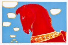 Risto Suomi: Punainen karusellihevonen, 2004, litografia, 12,5x20 cm, edition HC - Hagelstam A137 Finland, Art Drawings, Collage, Horses, Disney Characters, Illustration, Artist, Prints, Painting