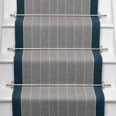 Roger Oates Dart Pigeon stair runner carpet with Brushed Chrome stair rods to white painted staircase Staircase Runner, Stair Banister, Hallway Carpet Runners, Stair Runners, Hardwood Stairs, Hall Carpet, Stair Carpet, Stair Landing, Stair Rods