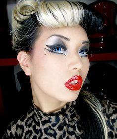 Pin Up Makeup, Crazy Makeup, I Love Makeup, Eye Makeup, Makeup Art, Makeup Ideas, Makeup Stuff, Rockabilly Makeup, Rockabilly Fashion