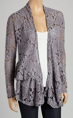 Gray Floral Lace Open Cardigan