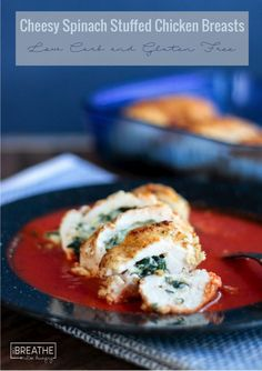 Cheesy Spinach Stuffed Chicken Breasts - low carb; gluten- free (I Breathe... I'm Hungry...)