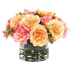 Sunset Rose in Glass Vase