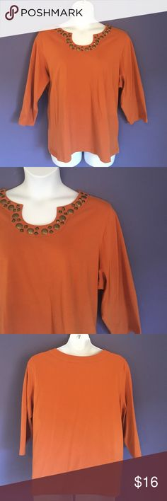 "🎉New List🎉Lark Lane Top w/Embellished Neckline This rust top is perfect for fall. The embellished neckline adds a little drama to a plain shirt.  Pair with jeans and you have a great weekend outfit.  Material:  95% Cotton/5% Spandex. Measurements:  Length - 27""/Bust - 28.5"" Lark Lane Tops"