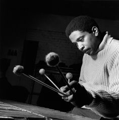 PHOTO OF BOBBY HUTCHERSON BY FRANCIS WOLFF TAKEN DURING THE 1963 RECORDING SESSIONS FOR GRANT GREEN'S BLUE NOTE LP IDLE MOMENTS. (COURTESY OF MOSAIC IMAGES.)