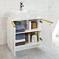 Waschtischunterschrank Holz Braun 40 X 65 55 Cm Aussparung Für Siphon Drei Ablagefächer Coole Raumideen Pinterest