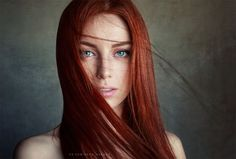 Interview with portrait photographer Sean Archer. Portrait of a girl with red hair and blue eyes by Sean Archer