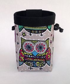 owl chalk bag, kids chalk bag, funky owl, rock climbing