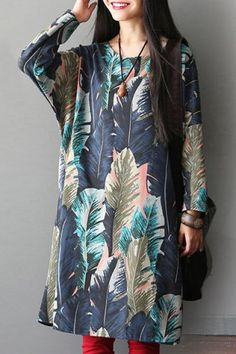 Loose-Fitting Jewel Neck Long Sleeves Large Size Printed Dress For Women Casual Day Dresses, African Print Dresses, Sammy Dress, Fashion Outfits, Womens Fashion, Passion For Fashion, Street Style, Clothes For Women, My Style