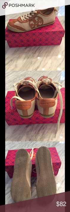 Tory Burch Fashion Sneakers TB fashion Sneakers in cream khaki and tan leather.  Ships w/o box the same day of purchase confirmation. Tory Burch Shoes Sneakers