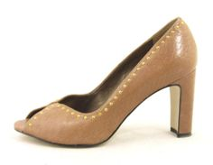 Talbots Taupe Gold Studded Peep Open Cute Faux Snakeskin Leather Pump Heel 6 5 | eBay