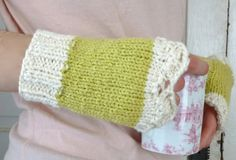 Organic Cotton Lace Fingerless Gloves Green and by LaceyDaisyKnits, $26.50