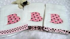 Burp Cloths Trio Set Aztec and Dots Embroidery Dotty Font Letters
