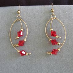 Wire-Wrapped Earrings with Red Swarovski Crystals