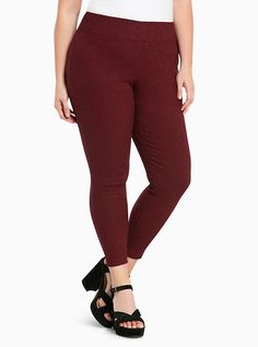 Plus Size Pixie Pant - Burgundy Brocade Print All-Nighter Ponte, DEEP MERLOT