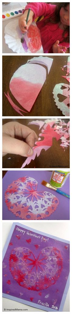 Have you done any snowflake cutting yet this winter?  Hurry up and put a Valentines Day twist on it with this Kids Valentine Craft from B-InspiredMama.com!