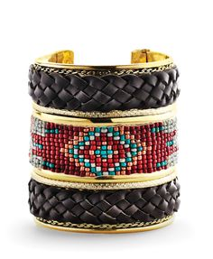 native statement piece -- beaded cuff bracelet
