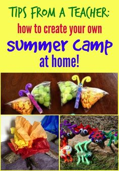 Tips from a Teacher: How to Create Your Own Summer Camp at Home Fun summer camp outdoor activities, snacks, and crafts that any mom can do at home with the kids. Save money and have fun this summer! Summer Day Camp, Summer Camps For Kids, Summer Diy, Summer Crafts, Summer Bucket, Summer Camp Themes, Summer Slide, Summer Ideas, Kids Crafts