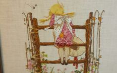 Vintage Crewel Needlepoint,  Framed, Little Girl, Fence, Flowers, Bees, Country in Crafts, Needlecrafts & Yarn, Embroidery & Cross Stitch, Finished Embroidered Pieces, Finished Needlepoint Pieces | eBay