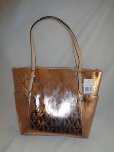 6675ad3c16a6 MICHAEL KORS SIGNATURE MIRROR METALLIC JET SET EW TZ TOTE BAG ROSE GOLD NWT  228 #