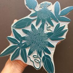I Ve Finally Got Around To Printing My Passion Flower Block Today Starting Off With One Of My Favourite Colours Linocut Prints Woodcut Art Prints