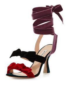 ATTICO Diletta Velvet Bow Ankle-Wrap Sandal, Multi. #attico #shoes #sandals