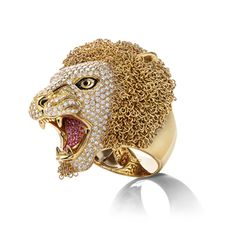 Lion_Limited Edition ring. Ring in yellow gold with colourless diamonds, pink sapphires, black diamonds and enamel - Roberto Coin