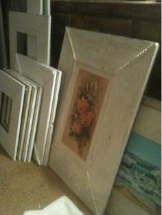 framed old flower art to keep with vintage garden theme