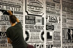 Sony Music Timeline by Rob Antill. The Sony Music Timeline celebrates 125 years of musical history. It features nearly 1000 of Sony Music's signed artists from 1887 to the present day. Janis Joplin, Jimi Hendrix, Typography Letters, Typography Design, Hand Lettering, Creative Typography, Lettering Tutorial, Environmental Graphics, Environmental Design