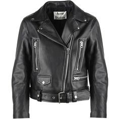 Acne Studios Mock Leather Biker Jacket found on Polyvore featuring outerwear, jackets, nero and acne studios