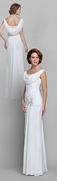 Sheath / Column Cowl Neck Floor Length Chiffon Mother of the Bride Dress with Beading Buttons Crystal Detailing