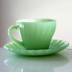 """Jadite """"Shell"""" Cup and Saucer....I would love to have a cup of coffee out of this cup!"""