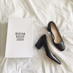 "Maryam Nassir Zadeh Maryam Heel Classic Black Pump with Slightly Square Toe - never worn, comes with box!   Item Details: 2 5/8"" block heel, slips on, true to size Maryam Nassir Zadeh Shoes Heels"