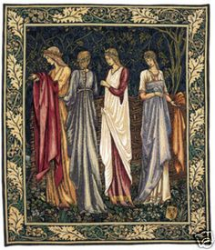 34x28 CAMELOT LADIES Medieval Art Tapestry Wall Hanging $375