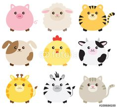 Vector: Vector illustration of fat animals including pig, sheep, tiger, dog, chicken, cow, giraffe, zebra and cat.
