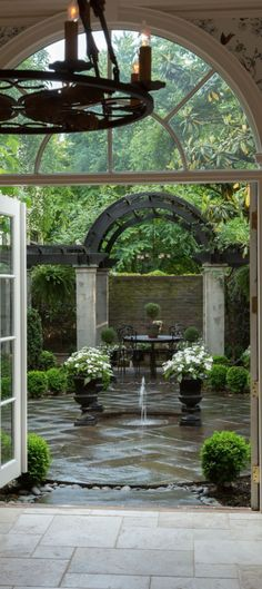Having an exquisite backyard full of flowers and even some crops, shrubs and timber, there would nonetheless be one thing lacking. Backyard fountains are Outdoor Rooms, Outdoor Living, Outdoor Patios, Outdoor Kitchens, Indoor Outdoor, French Courtyard, Modern Courtyard, Internal Courtyard, French Formal Garden